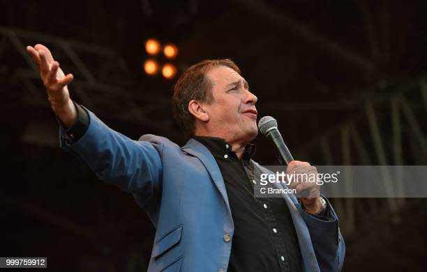 Jools Holland and his Rythm Blues Orchestra perform on stage during Day 6 of Kew The Music at Kew Gardens on July 15 2018 in London England