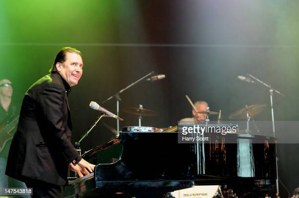 Jools Holland performs on stage during Cornbury Festival at Great Tew Estate on July 1 2012 in Oxford United Kingdom