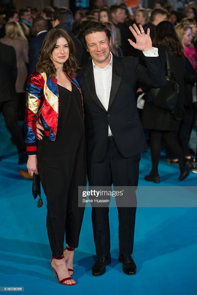 .Jools Oliver and Jamie Olive arrrive for the European premiere of 'Eddie The Eagle' at Odeon Leicester Square on March 17, 2016 in London, England.