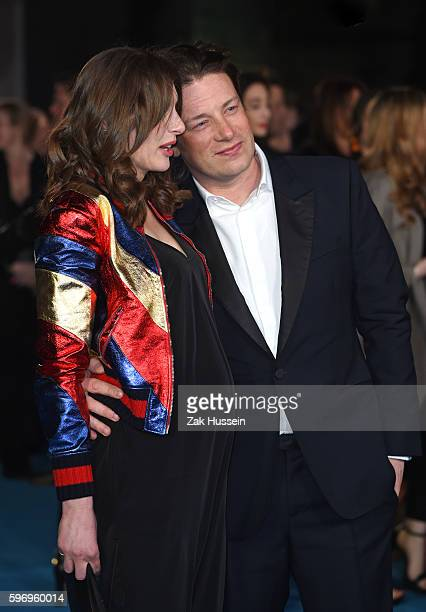 Jools Oliver and Jamie Oliver arriving at the European premiere of Eddie the Eagle at the Odeon Leicester Square in London