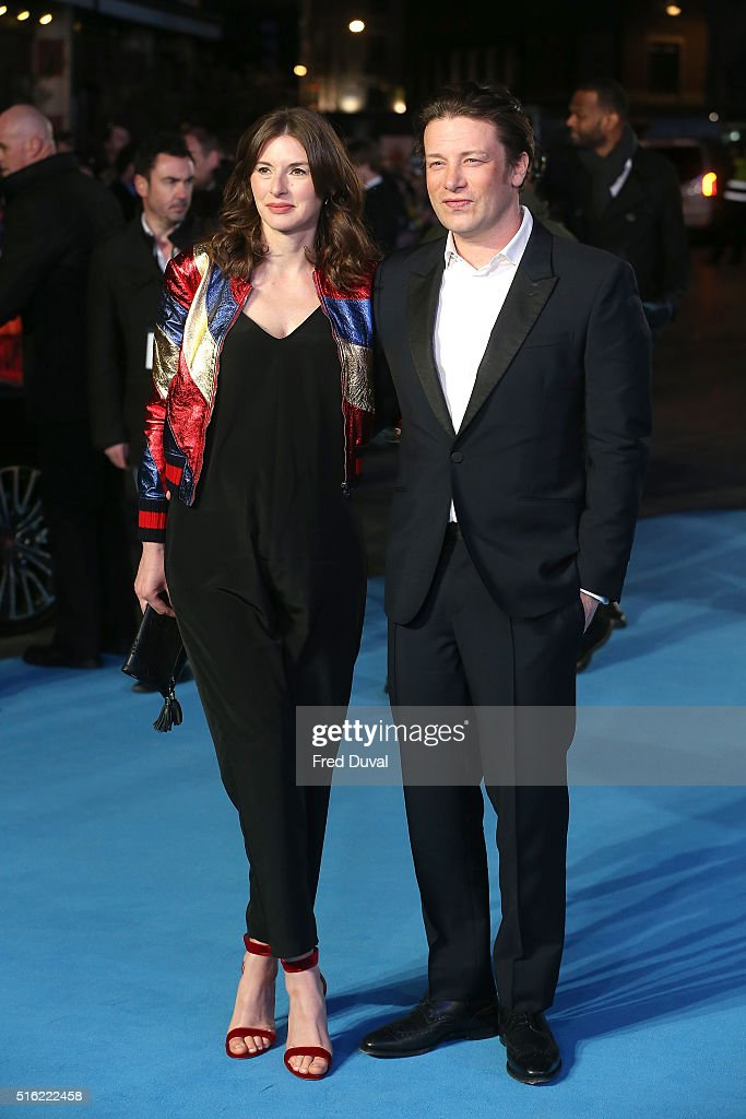 Jools Oliver and Jamie Oliver attend the European Premiere of 'Eddie The Eagle' at Odeon Leicester Square on March 17, 2016 in London, England.
