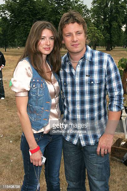 Jools Oliver and Jamie Oliver during 'Peter Pan' Characters Wander Kensington Gardens for Great Ormond Street Hospital July 23 2005 at Kensington...