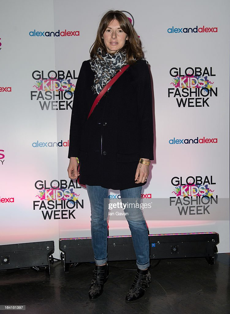 Jools Oliver arrives for the Global Kids Fashion Week SS13 public show in aid of Kids Company at The Freemason's Hall on March 20, 2013 in London, England.
