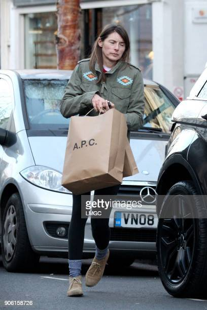 Jools Oliver seen returning to her new Range Rover Evoque after shopping in Primrose Hill on January 17 2018 in London England