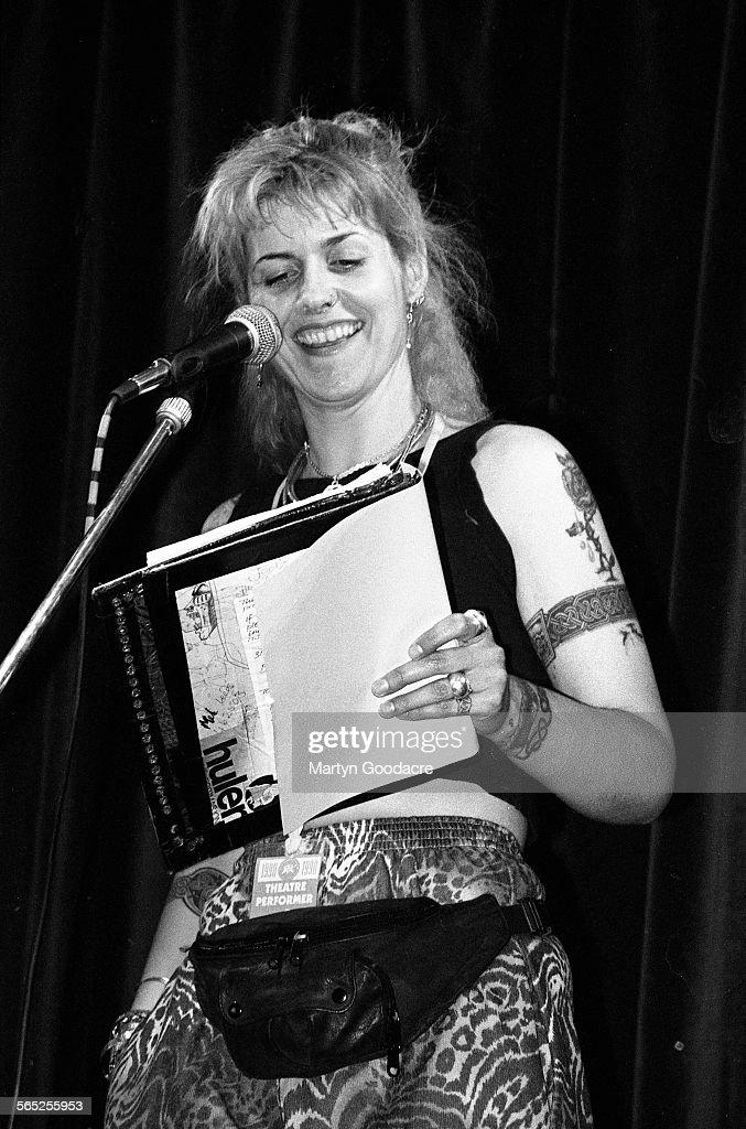 Joolz Denby (aka Julianne Mumford) performs on stage, Comedy Tent, Glastonbury Festival, Ireland, 1990.