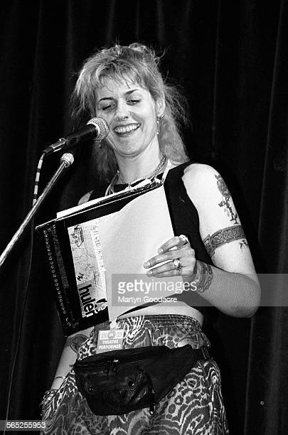 Joolz Denby performs on stage Comedy Tent Glastonbury Festival Ireland 1990