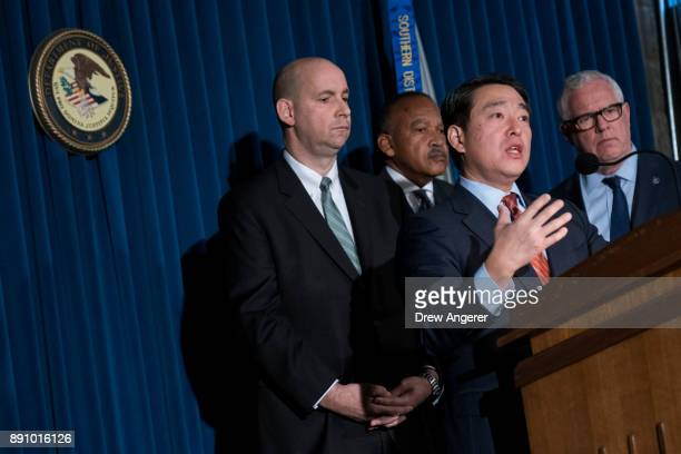 Joon Kim acting US attorney for the Southern District of New York speaks during a press conference to announce terrorism charges against Akayed...