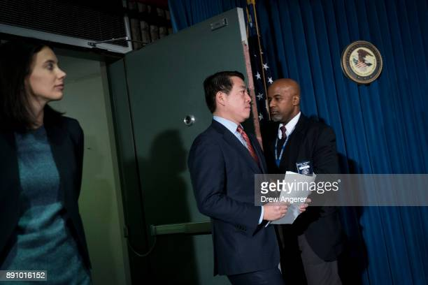 Joon Kim acting US attorney for the Southern District of New York arrives for a press conference to announce terrorism charges against Akayed Ullahin...
