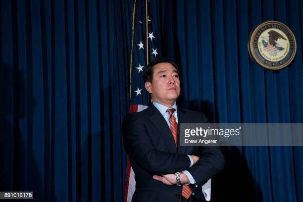 Joon Kim acting US attorney for the Southern District of New York looks on during a press conference to announce terrorism charges against Akayed...
