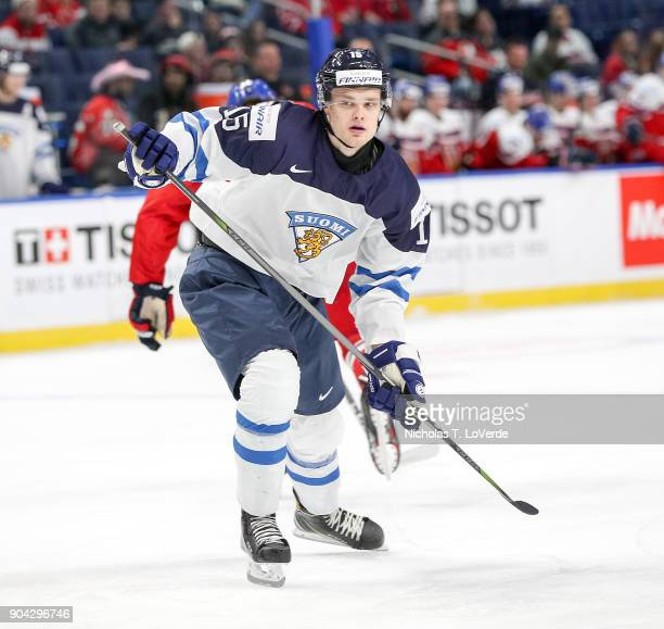 Joona Koppanen of Finland skates against the Czech Republic during the third period of play in the IIHF World Junior Championships Quarterfinal game...