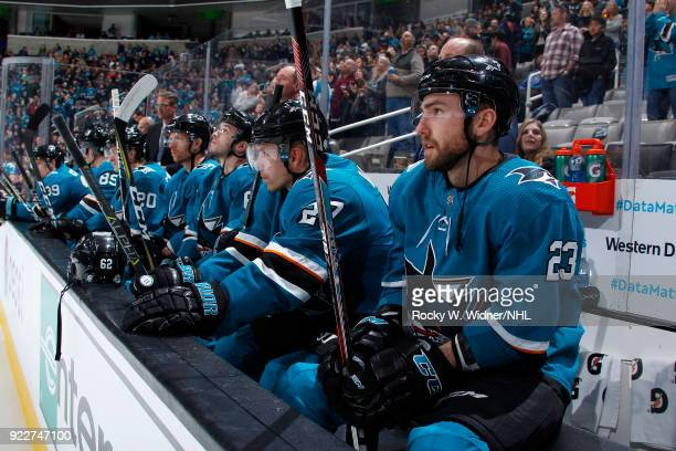 Joonas Donskoi and Barclay Goodrow of the San Jose Sharks look on during the game against the Dallas Stars at SAP Center on February 18 2018 in San...