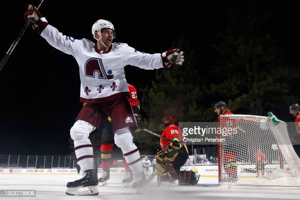 Joonas Donskoi of the Colorado Avalanche reacts to a disallowed goal during the second period of the 'NHL Outdoors At Lake Tahoe' at the Edgewood...