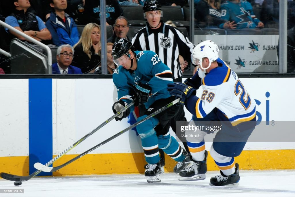 Joonas Donskoi #27 of the San Jose Sharks and Vince Dunn #29 of the St. Louis Blues battle for the puck at SAP Center on March 8, 2018 in San Jose, California.