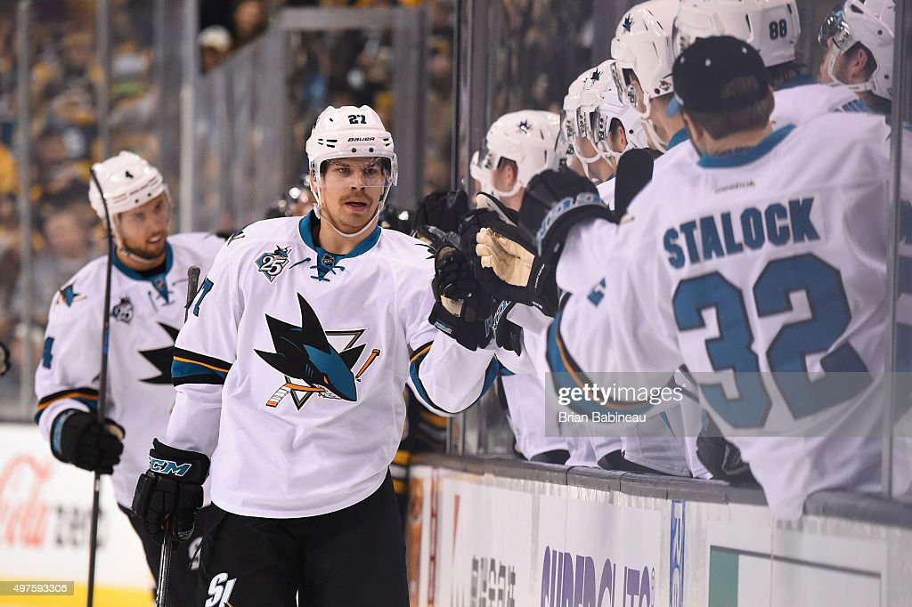 Joonas Donskoi #27 of the San Jose Sharks celebrates a goal against the Boston Bruins at the TD Garden on November 17, 2015 in Boston, Massachusetts.