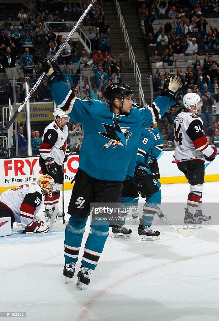 Joonas Donskoi #27 of the San Jose Sharks celebrates after scoring a goal against the Arizona Coyotes at SAP Center on September 25, 2015 in San Jose, California.