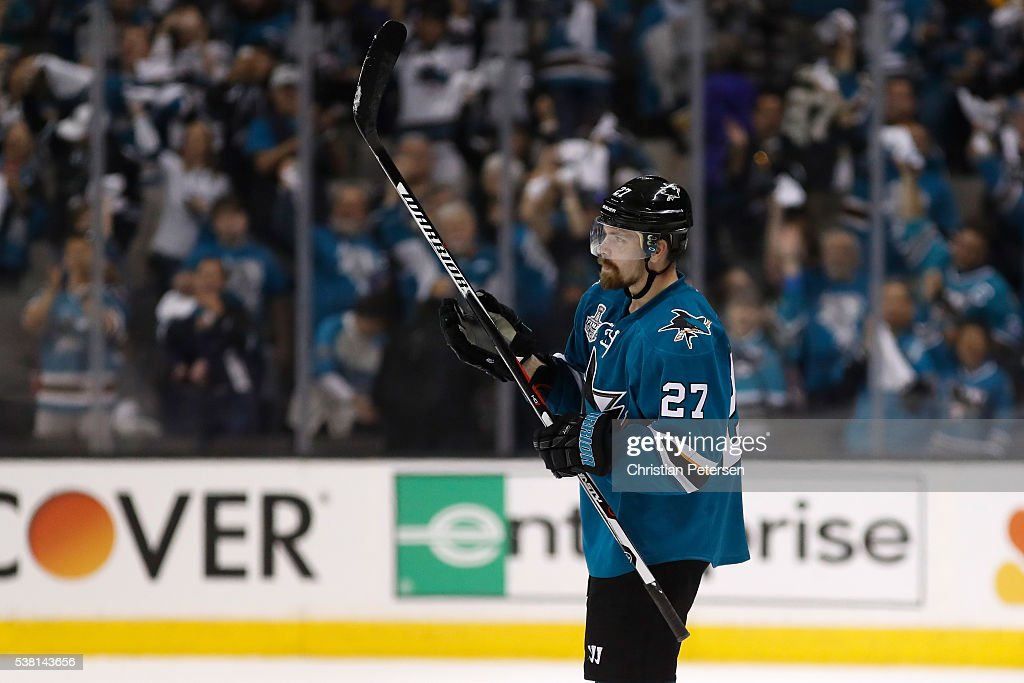 Joonas Donskoi #27 of the San Jose Sharks celebrates his game winning goal against the Pittsburgh Penguins during overtime in Game Three of the 2016 NHL Stanley Cup Final at SAP Center on June 4, 2016 in San Jose, California.