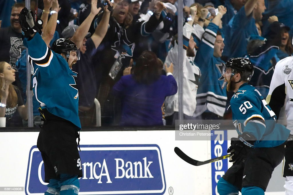 Joonas Donskoi #27 of the San Jose Sharks celebrates his game winning goal with Chris Tierney #50 against the Pittsburgh Penguins during overtime in Game Three of the 2016 NHL Stanley Cup Final at SAP Center on June 4, 2016 in San Jose, California.