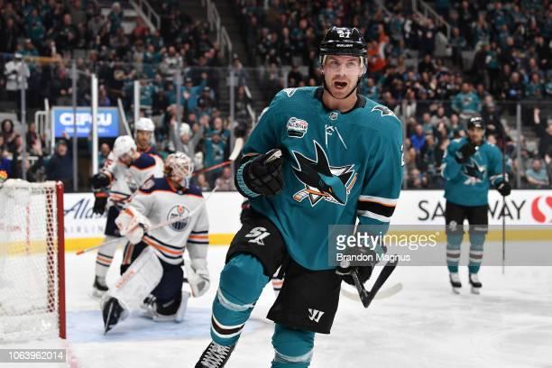 Joonas Donskoi of the San Jose Sharks celebrates scoring a goal against the Edmonton Oilers at SAP Center on November 20 2018 in San Jose California