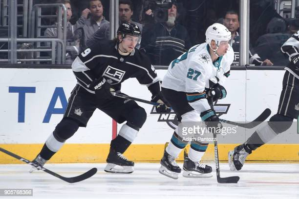 Joonas Donskoi of the San Jose Sharks handles the puck during a game against the Los Angeles Kings at STAPLES Center on January 15 2018 in Los...