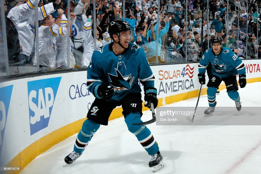 Joonas Donskoi #27 of the San Jose Sharks reacts after scoring his second goal of the game during the third period against the Arizona Coyotes at SAP Center on January 13, 2018 in San Jose, California.