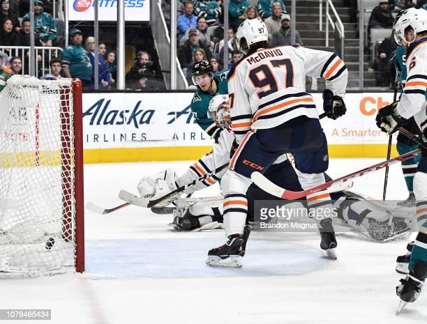 Joonas Donskoi of the San Jose Sharks scores a goal against the Edmonton Oilers at SAP Center on January 8 2018 in San Jose California