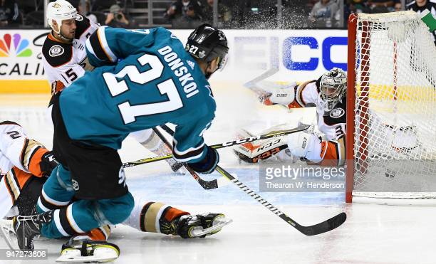 Joonas Donskoi of the San Jose Sharks shoots and scores getting his shot past goalie John Gibson of the Anaheim Ducks during the second period in...