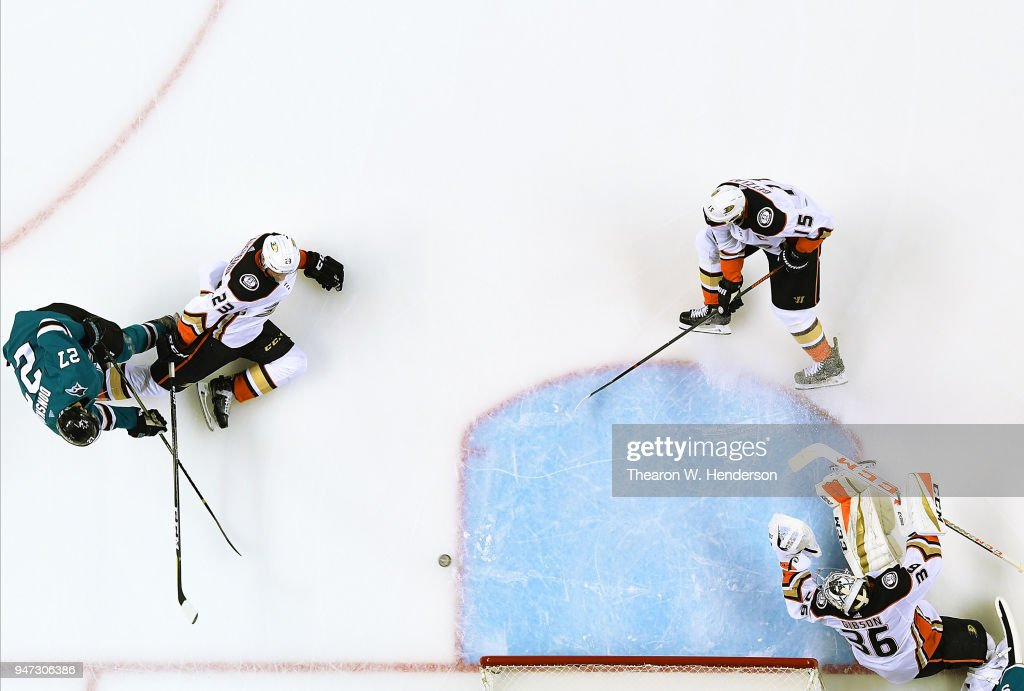 Joonas Donskoi #27 of the San Jose Sharks shoots and scores getting his shot past goalie John Gibson #36 of the Anaheim Ducks during the second period in Game Three of the Western Conference First Round during the 2018 NHL Stanley Cup Playoffs at SAP Center on April 16, 2018 in San Jose, California.