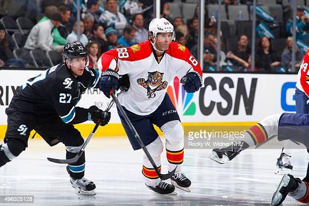 Joonas Donskoi of the San Jose Sharks skates against Jaromir Jagr of the Florida Panthers at SAP Center on November 5, 2015 in San Jose, California.