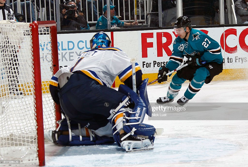 Joonas Donskoi #27 of the San Jose Sharks skates in for a shot on net against Brian Elliott #1 of the St. Louis Blues during a NHL game at the SAP Center at San Jose on March 22, 2016 in San Jose, California.