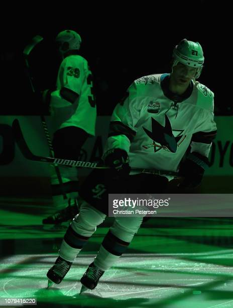 Joonas Donskoi of the San Jose Sharks skates on the ice before the NHL game against the Arizona Coyotes at Gila River Arena on December 8 2018 in...