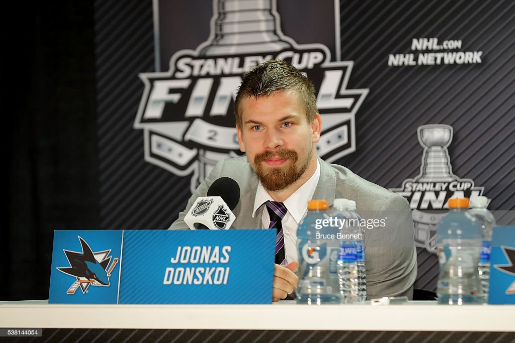 Joonas Donskoi #27 of the San Jose Sharks talks with the media during a press conference after Game Three of the 2016 NHL Stanley Cup Final at SAP Center on June 4, 2016 in San Jose, California.