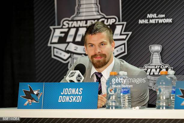 Joonas Donskoi of the San Jose Sharks talks with the media during a press conference after Game Three of the 2016 NHL Stanley Cup Final at SAP Center...