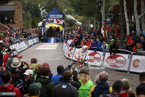Joonas Henttala of Finland riding for Team Novo Nordisk competes in the individual time trial during Stage 6 of the 2014 USA Pro Challenge on August...