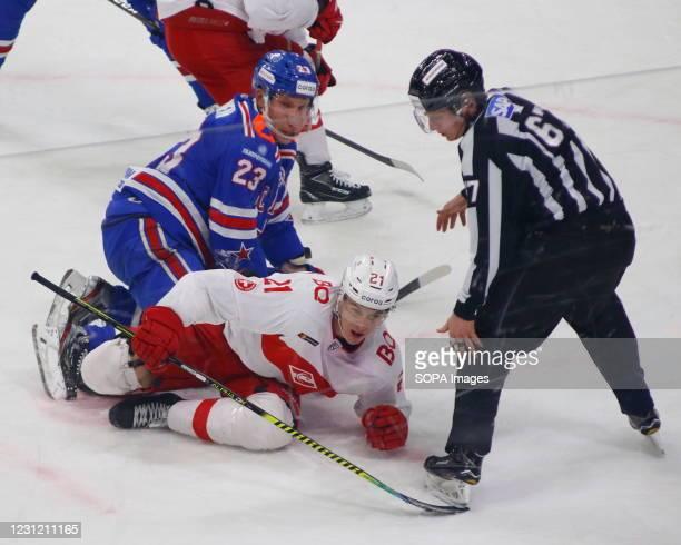 Joonas Kemppainen and Spartak hockey player, Yori Lehter in action during the Kontinental Hockey League, regular season, KHL 2020/21 between SKA...