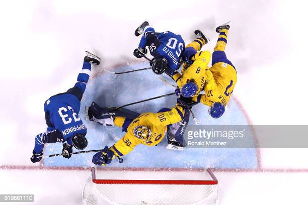 Joonas Kemppainen of Finland scores a goal in the second period against Viktor Fasth of Sweden during the Men's Ice Hockey Preliminary Round Group C...