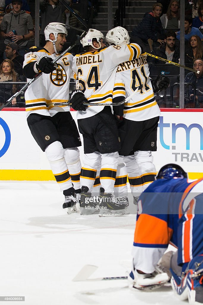 Joonas Kemppainen #41 of the Boston Bruins celebrates his first NHL goal against the New York Islanders at the Barclays Center on October 23, 2015 in Brooklyn borough of New York City. The Bruins defeated the Islanders 5-3.