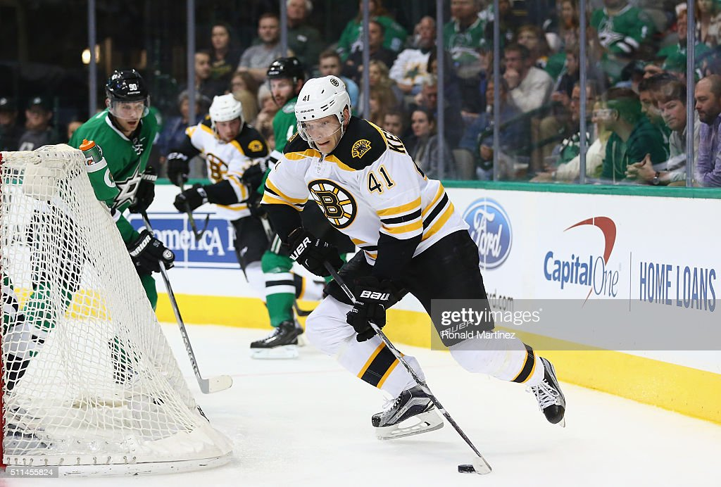 Joonas Kemppainen #41 of the Boston Bruins skates the puck against the Dallas Stars in the second period at American Airlines Center on February 20, 2016 in Dallas, Texas.