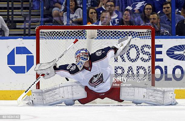 Joonas Korpisalo of the Columbus Blue Jackets allows a goal by the Tampa Bay Lightning at the Amalie Arena on January 13 2017 in Tampa Florida