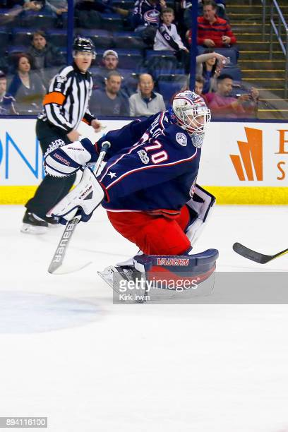 Joonas Korpisalo of the Columbus Blue Jackets attempts to make a save during the game against the Edmonton Oilers on December 12 2017 at Nationwide...