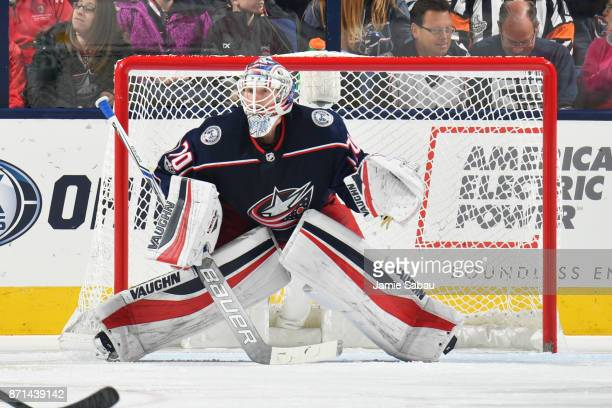 Joonas Korpisalo of the Columbus Blue Jackets defends the net during the first period of a game against the Nashville Predators on November 7 2017 at...