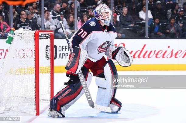 Joonas Korpisalo of the Columbus Blue Jackets defends the net during a game against the Los Angeles Kings at STAPLES Center on March 1 2018 in Los...