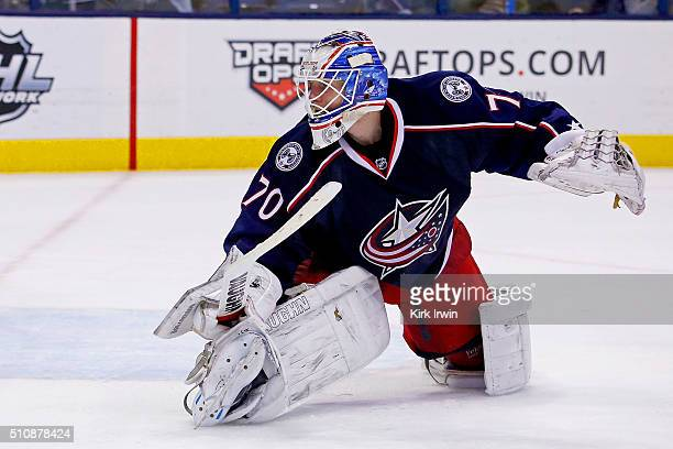 Joonas Korpisalo of the Columbus Blue Jackets follows the puck during the game against the Boston Bruins on February 16 2016 at Nationwide Arena in...
