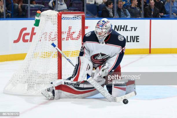 Joonas Korpisalo of the Columbus Blue Jackets makes a save against the St Louis Blues at Scottrade Center on October 28 2017 in St Louis Missouri