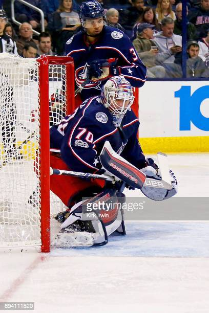 Joonas Korpisalo of the Columbus Blue Jackets makes a save during the game against the Edmonton Oilers on December 12 2017 at Nationwide Arena in...