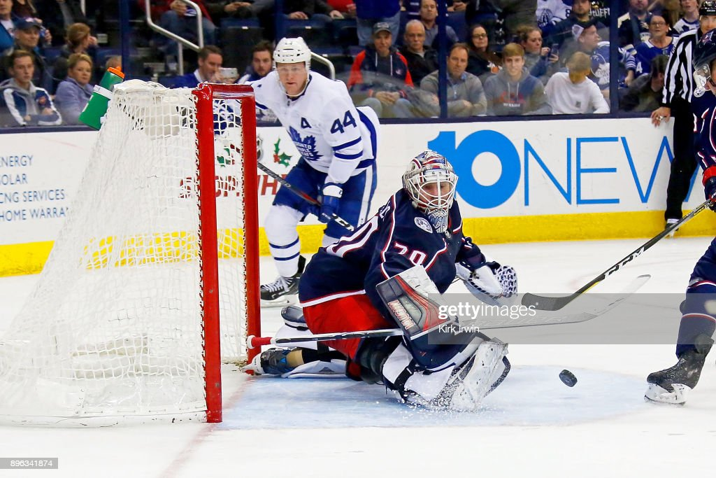 Joonas Korpisalo #70 of the Columbus Blue Jackets makes a save during the third period of the game against the Toronto Maple Leafs on December 20, 2017 at Nationwide Arena in Columbus, Ohio. Columbus defeated Toronto 4-2.