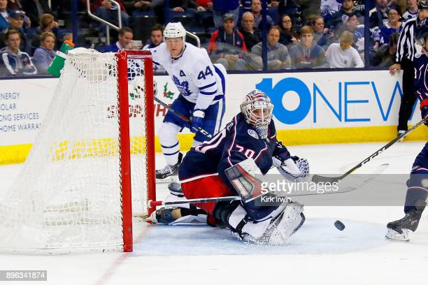 Joonas Korpisalo of the Columbus Blue Jackets makes a save during the third period of the game against the Toronto Maple Leafs on December 20 2017 at...