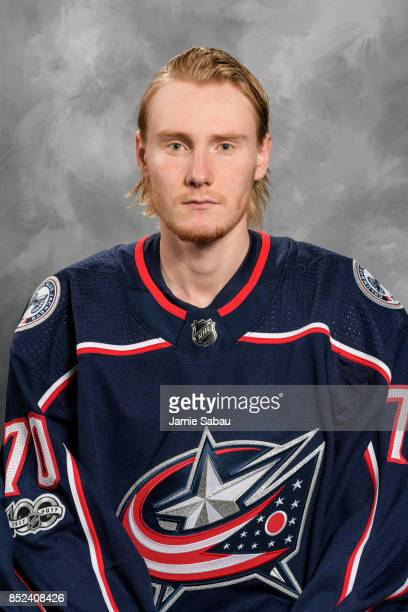Joonas Korpisalo of the Columbus Blue Jackets poses for his official headshot for the 201718 season on September 14 2017 at Nationwide Arena in...