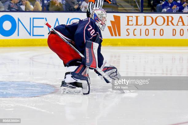 Joonas Korpisalo of the Columbus Blue Jackets prepares for the puck to be up in to play to start the third period during the game against the Toronto...
