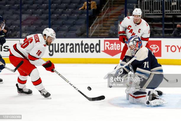 Joonas Korpisalo of the Columbus Blue Jackets stops a shot by Vincent Trocheck of the Carolina Hurricanes during the first period at Nationwide Arena...