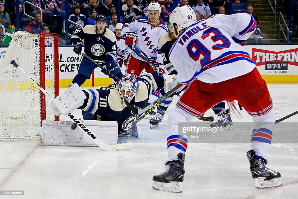 Joonas Korpisalo #70 of the Columbus Blue Jackets stops a shot from Keith Yandle #93 of the New York Rangers during the third period on April 4, 2016 at Nationwide Arena in Columbus, Ohio. New York defeated Columbus 4-2.